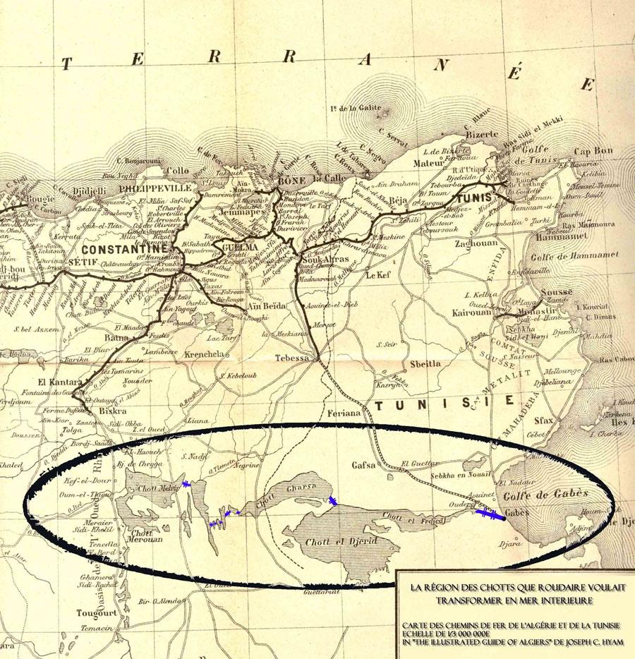 Grand projets: La région des Chotts en Algérie et Tunisie que Roudaire voulait transformer en mer intérieur